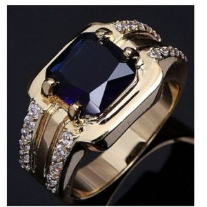Men's Blue Sapphire with CZ accents Ring